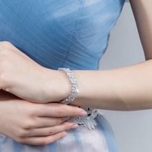 Zircons Women Fashion Jewelry Gorgeous Silver Color Spring Flower Cubic Zirconia Connected Tennis Bracelet for Wedding CB010