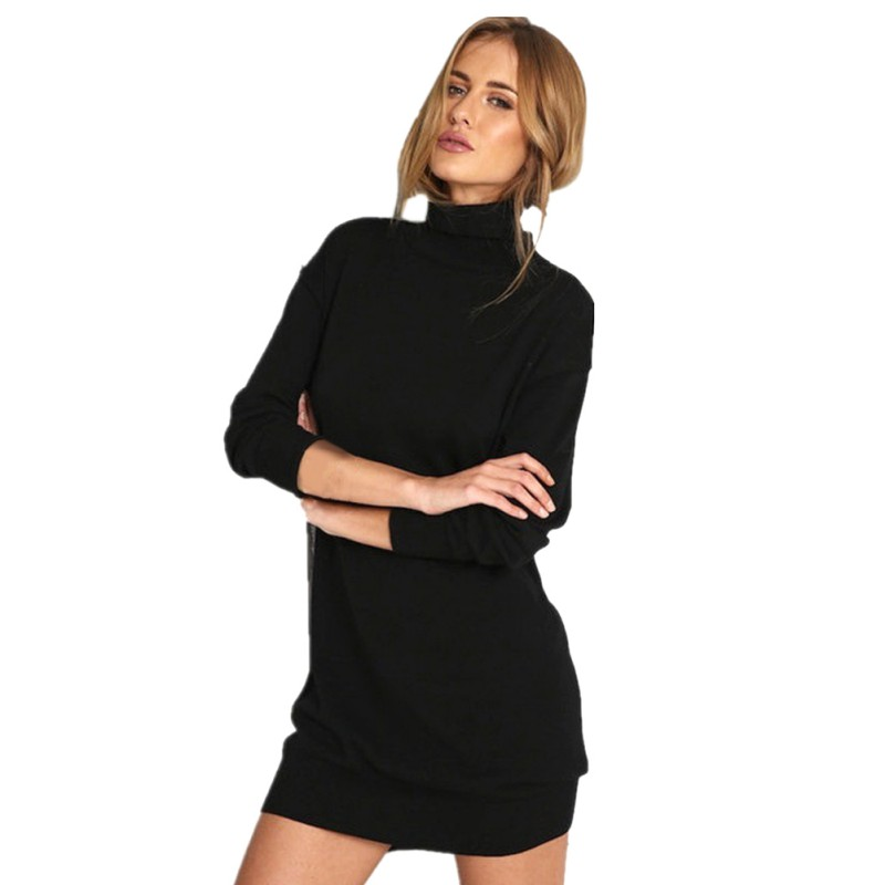 Hot Product Autumn Winter Warm Stretch Dresses Long Sleeve Knit BodyCon Slim Sweater Dress Black Fashion