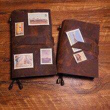 ใหม่ handmade โน้ตบุ๊คของแท้หนังกระเป๋าเดินทาง Journal โน้ตบุ๊คเข็มขัดสไตล์ 5 สีโรงเรียน VINTAGE โน้ตบุ๊ค