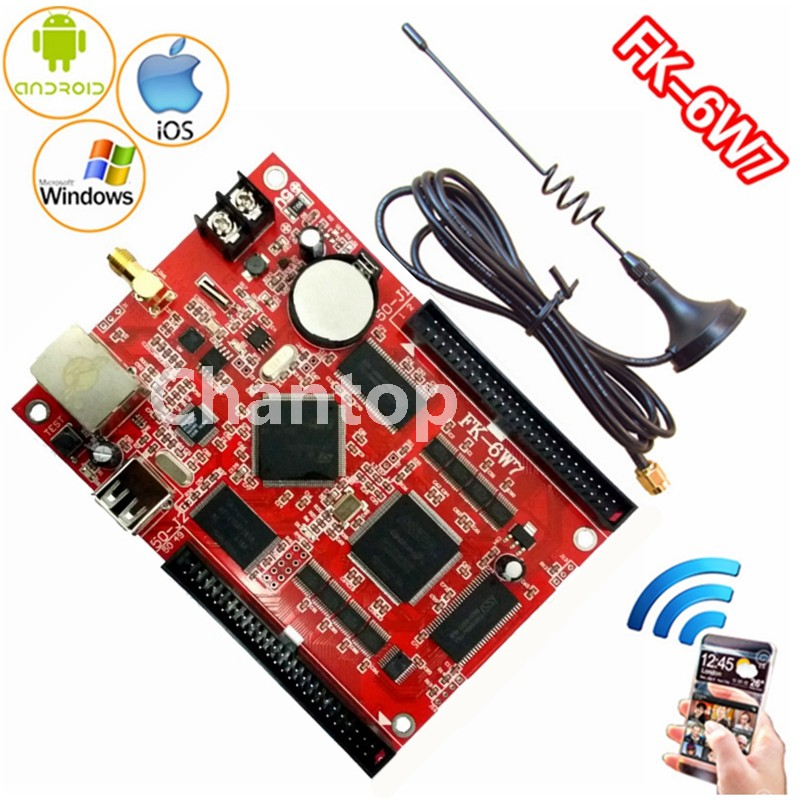 FK-6W7 wifi led control card network/USB disk wireless PC/Phone APP support p10,p13.33,p16,p4.75 led controller board fk cx5 rj45 netwok and usb led control card 2408 48pixels support single