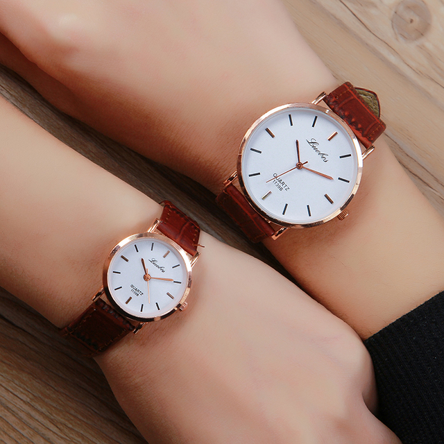 Luobos Fashion Lovers Leather Quartz Watch Hot Sale Super-Thin Women Men Watches