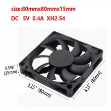 Gdstime 5 pieces DC  2Pin Two Wires 5V 8cm 80mmx80mmx15mm Brushless Motor Cooling Fan 5v