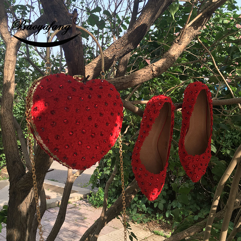 BaoYaFang New Red Flower Heart bag and shoes Woman Wedding shoes Bride platform shoes with matching bags female Pumps new flower female bridesmaid shoes wedding shoes bridal shoes red high heeled shoes formal dress new arrive platform pumps