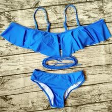 Bandeau Bikini 2017 Swimsuit Bandage Hot Sexy Bikinis Set Black Blue Ruffles Bathing Suit Off Shoulder Biquini Summer Beach Wear