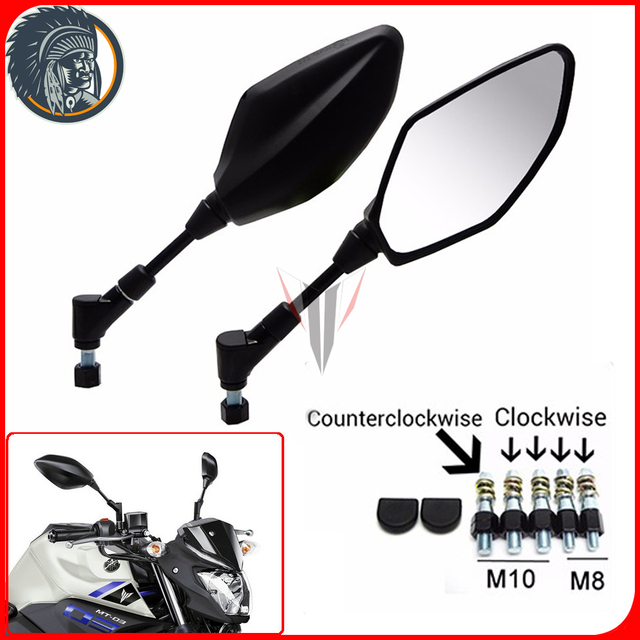 US $28 41 8% OFF|Pair Motorcycle Rear View Mirrors Handlebar Size Convex  Mirrors Black Housing for YAMAHA MT25 MT03 MT09 MT07 FZ09-in Side Mirrors &