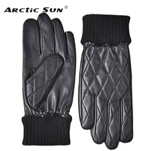 Men Genuine Leather Gloves Fashion Male Sheepskin Autumn Winter Plus Thermal Velvet Driving M032NC