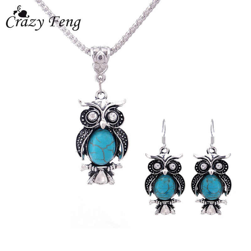 New Design Jewelry Sets Tibetan Silver Retro Stone Pendant Necklace Owl Drop Earrings Set Jewellery for Women Free Shipping
