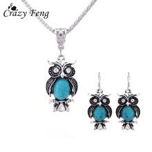 New Design Jewelry Sets Tibetan Silver Retro Stone Pendant Necklace Owl Drop Earrings Set J