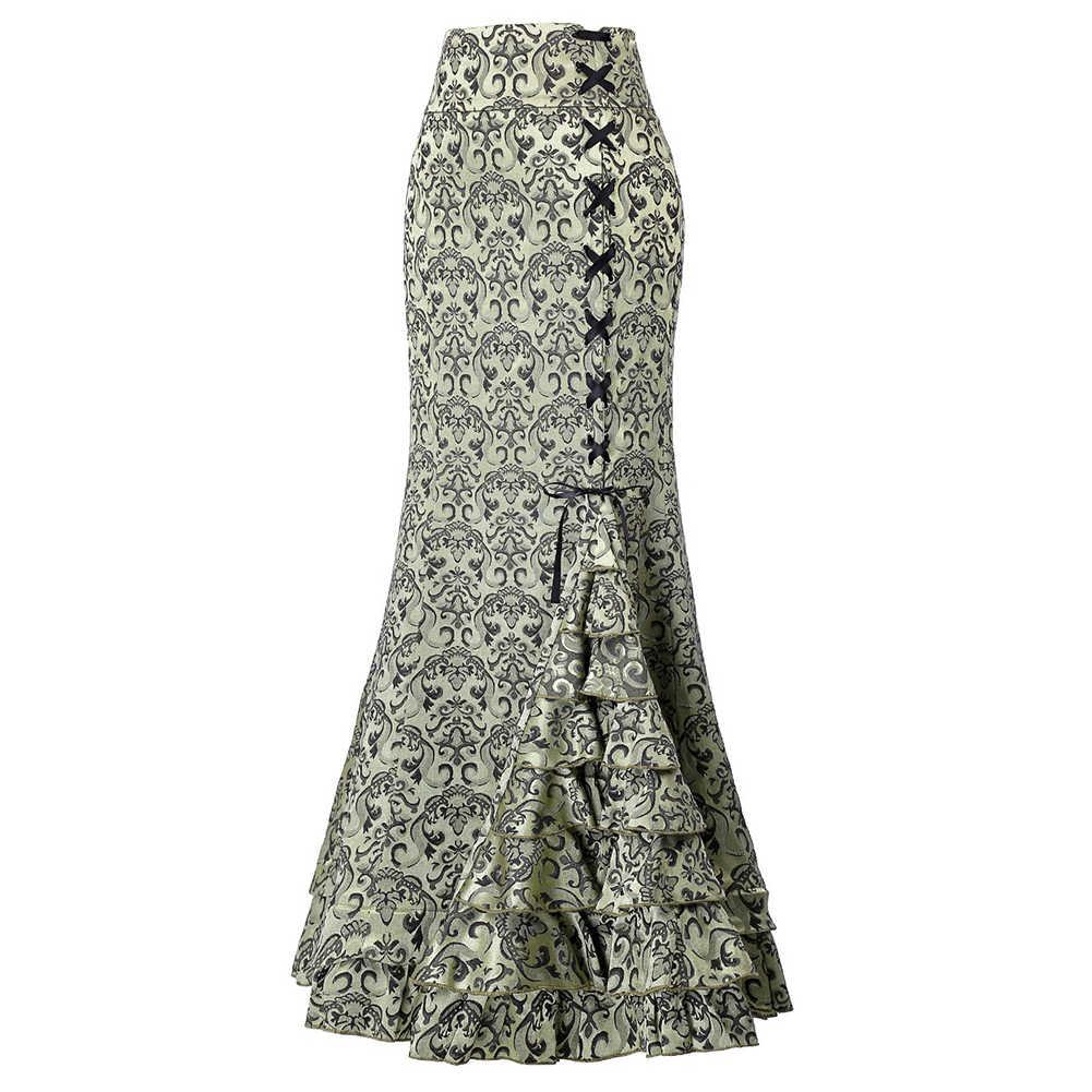 Винтажная труба женская готическая длинная юбка в стиле панк с принтом размер
