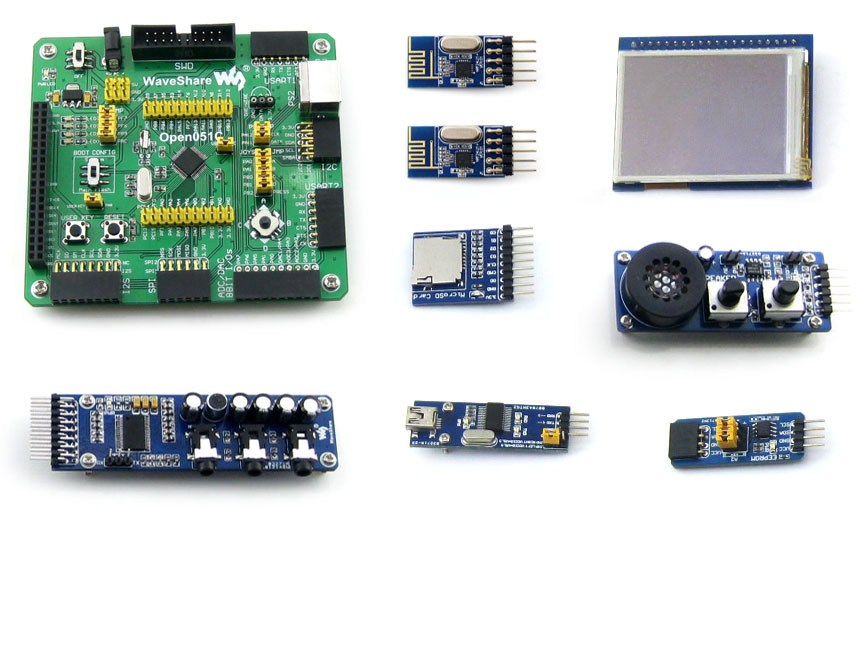 module STM32F051C STM32 ARM Cortex-M0 Development Board + 7 Accessory Modules = Open051C Package A fireduino pc combine stem education scratch graphic program iot development board pcduino wifi module arm cortex m3 demo