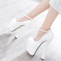 White Wedding Shoes Women Pumps Patent Leather Shoes Extremely High Heels 19cm Ankle Strap Platform Wedding Dress Shoes
