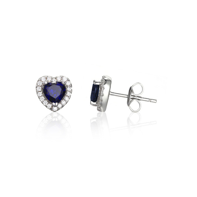 JewelryPalace Heart Of The Ocean 1.2ct Created Blue Sapphire 925 Sterling Silver Stud Earrings For Women Fashion Vintage Jewelry