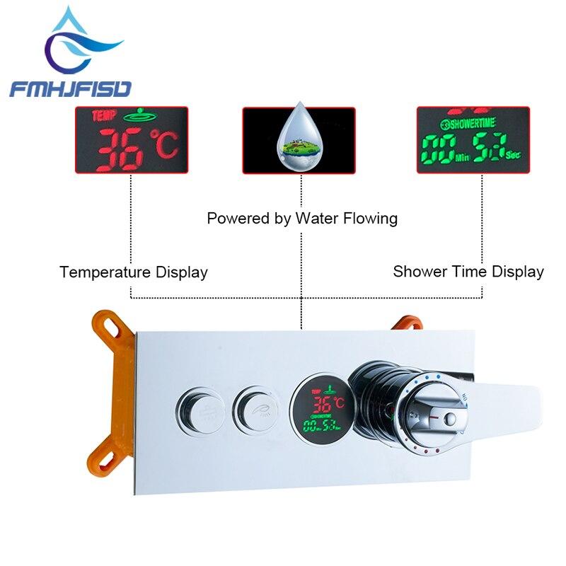 Цифровой Температура Дисплей термостатический картриджи клапан Triple смеситель клапан для Ванная комната смеситель для душа Панель