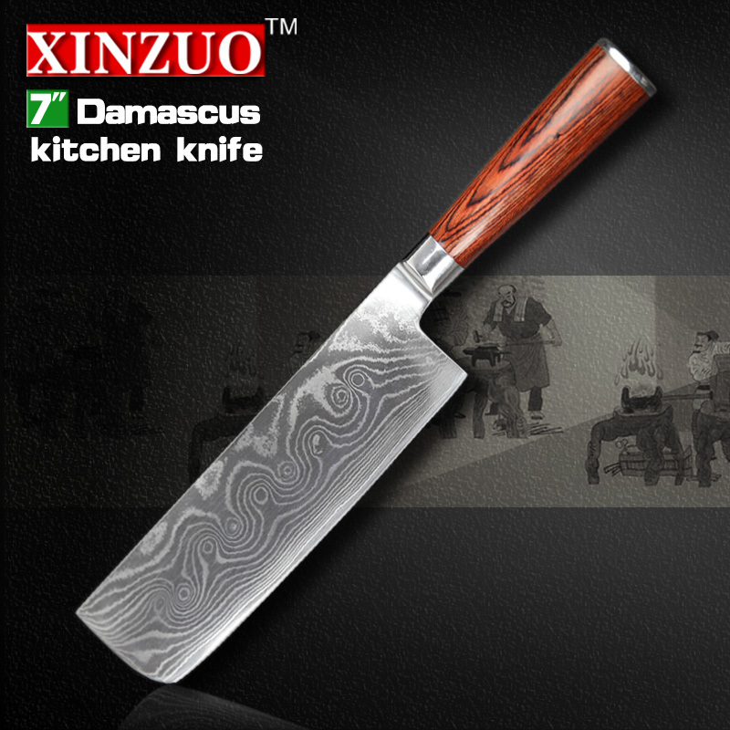 HOT 7 inch chef font b knife b font Damascus Steel kitchen font b Knife b