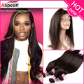 Ali Pearl Hair preplucked 360 Lace Frontal closure With Bundles Straight Brazilian Virgin Hair Full Lace 22.5*4*2 alipearl hair