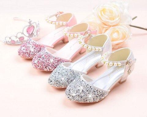 criancas menina contas de cristal sapatos meninas