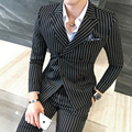 2017 Suits Mens Striped Suits Mens Double Breasted 3 Piece Set Blazer Jackets White Trendy Red Blazers British Club Outfits Slim