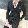 2017 Ternos Dos Homens Ternos Listrados Mens Double Breasted 3 Peça conjunto Blazer Jaquetas Blazers Britânico Clube Outfits Branco Vermelho Na Moda fino