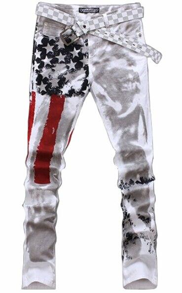 Male cotton flag design fashion hip hop harem sweatpants Men's casual jeans slim skinny joggers tights trousers pants
