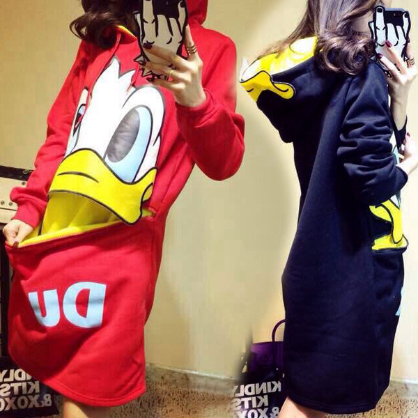 ATKULLQZ Fashion 2019 New Female Long Sleeve Plus Velvet Sweatershirt Donald Duck Long Dress Bag Hip Clothing Woman Sweatshirt