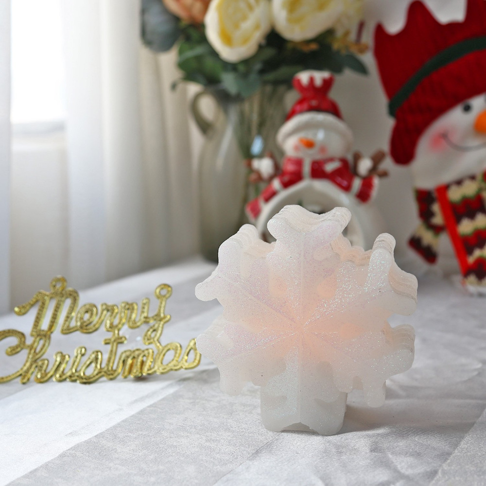 GiveU Christmas Snowflake decoration Led Real Wax Candle with Timer,Battery Christmas light, White