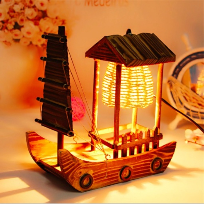 NEW Creative Cottage Wood Handcrafts Boat Design Table