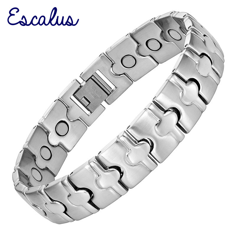 Escalus Men Bangle Magnetic Stainless Steel Bracelet Silver Bio Energy Healing Magnets Jewelry Wristband Charm Smart