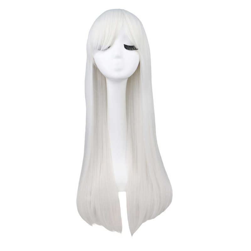 QQXCAIW Long Straight Cosplay Red Black Puprle Pink Blue Sliver Gray Blonde White Oragen Brown 80 Cm Synthetic Hair Wigs