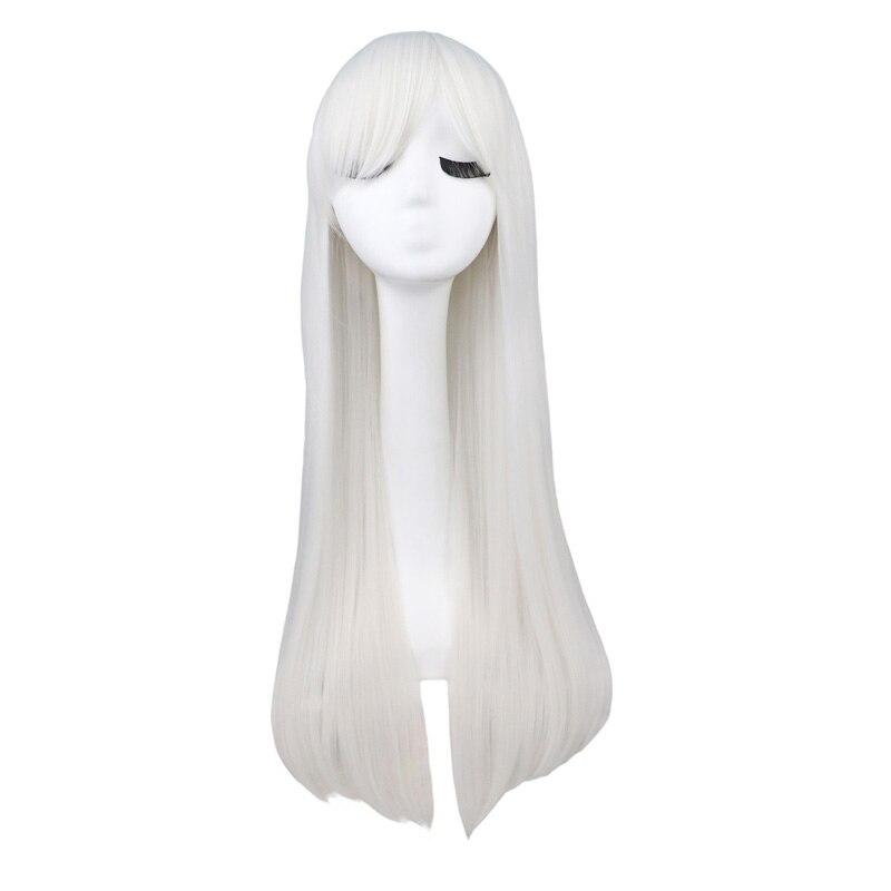 Qqxcaiw longa reta cosplay preto vermelho puprle rosa azul tira cinza loira branco oragen marrom 80 cm perucas de cabelo sintético
