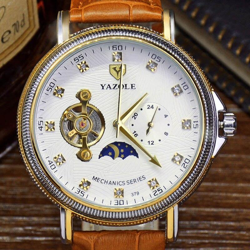 Automatic Mechanical Watch Men Alloy Waterproof Moon Phase Tourbillon Watches Mens Fashion Luxury Brand Business Wristwatch