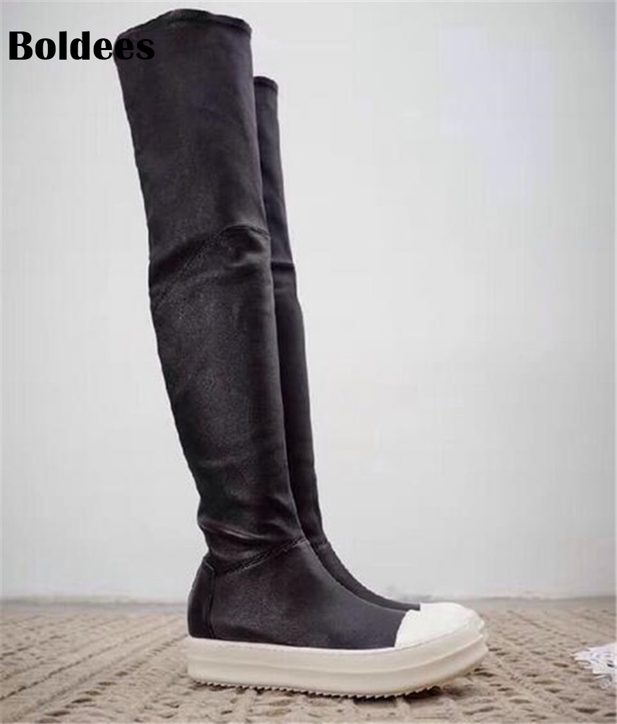 Sexy Black Stretch Fabric Over The Knee Boots Woman Round Toe White Thick Bottom Flat Long Boots For Women the woman in white