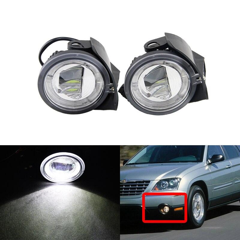 Direct Fit Pour Chrysler Pacifica Sebring Pour Dodge Stratus Berline E4 CE Auto Led Voiture Antibrouillard Avant Lumière W/Blanc DRL Halo Anneaux Kit