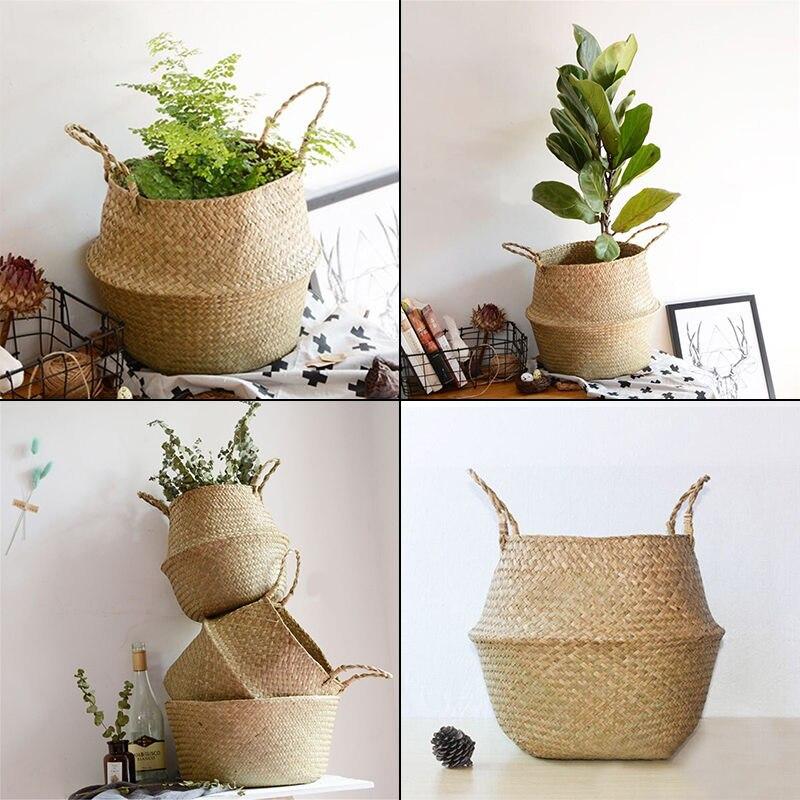 Seagrass Belly Basket Storage Plant Pot Foldable Nursery Bag Room Decor