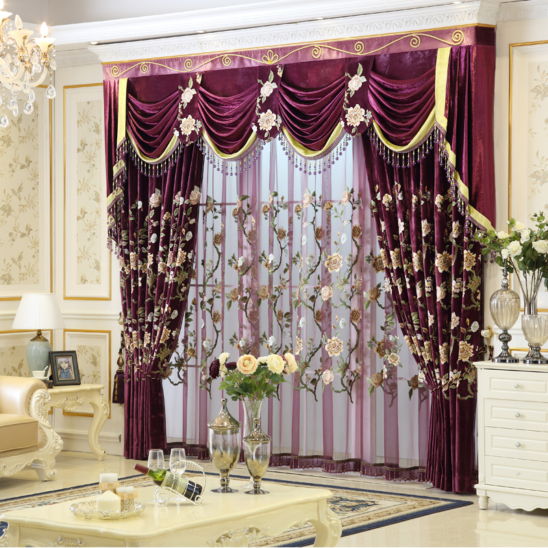 2016 New Arrival Luxury Embroidered Purple Curtains And Valances Lace Cortinas For Living Room