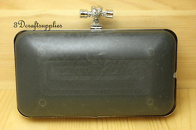 metal frame rectangle Box purse frame silver 7 inch x 4 inch K65