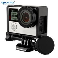 QIUNIU สำหรับกรอบป้องกัน GoPro มาตรฐาน + เลนส์ UV + ฝาครอบเลนส์กล้อง + ฐาน + สกรูชุดสำหรับ Go Pro HERO 3 3 + 4