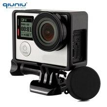 QIUNIU para Gopro marco de protección estándar montaje + lente UV + tapa de lente de cámara cubierta + soporte Base + soporte de Kit de tornillos para Go Pro Hero 3 3 + 4