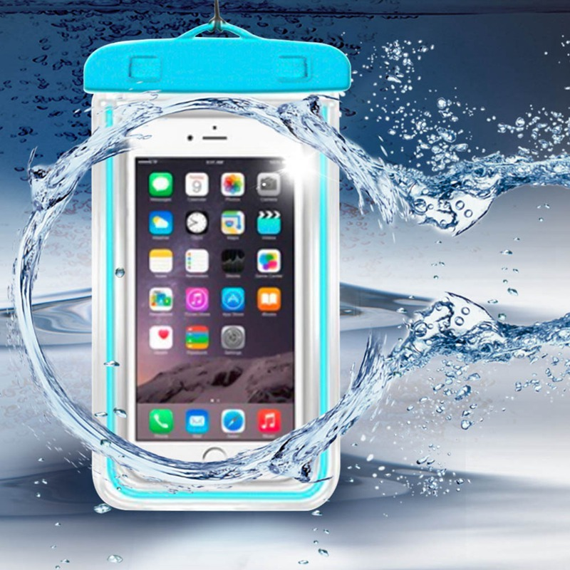 Luminous  Waterproof Case Fluorescent Cover Bag Dry Pouch For Mobile Phone Swim Diving Transparent Bag  For 6 Inch Mobile Phone