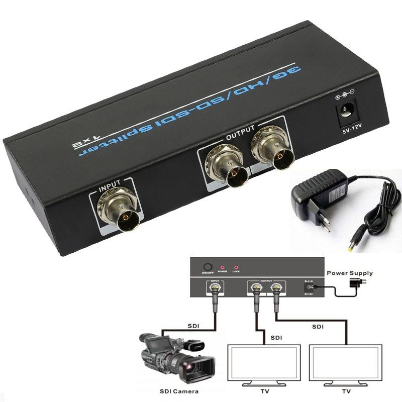 SDI, HD-SDI,3G-SDI Splitter 1x2 ,1 SDI to 2 BNC Output Distribution Splitter Extender Repeater 1080p With Power Supply lkv364 sdi to bnc repeater 1080p 720p sd sdi hd sdi 3g sdi distribute to 2 simultaneous sdi outputs sdi converter splitter