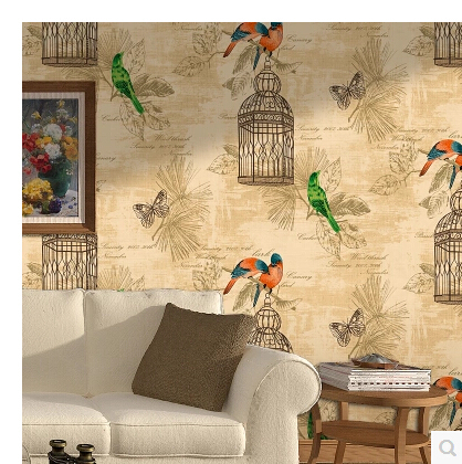 Birds and Flowers Wallpaper 3D Wallpapers PVC American Classical Unique Chinese Style Wall Paper Bird Cage Kids Room Wall Decor fashion chinese style flowers and bird pattern removeable wall stickers