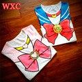 Camisa anime sailor moon chibimoon clothing 2016 meninas verão camisa harajuku kawaii impresso das mulheres peplum encabeça tee
