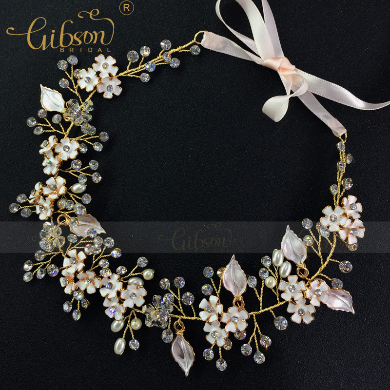 Free Shipping Gibsonbridal Enamel Flower Wedding Bridal Hair Jewellery Girls Headband Crown and Tiara Accessories fashion bridal veils party wedding hair accessories flower girls bridesmaid hair band floral lace veil headdress free shipping