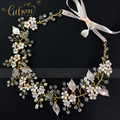 Free Shipping Gibsonbridal Enamel Flower Wedding Bridal Hair Jewellery Girls Headband Crown and Tiara Accessories