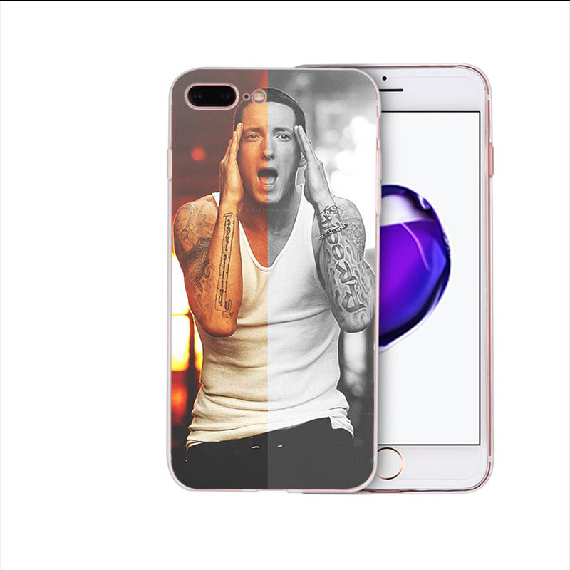IMIDO Soft silicone phone case for iPhone x xs xr xsmax 7 8 6 6s plus 5 5s se American rapper eminem TPU shell Cover in Half wrapped Cases from Cellphones Telecommunications