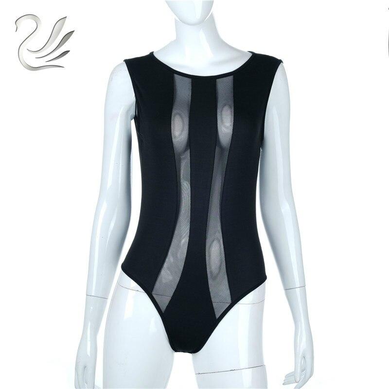 2018 Bodysuits Women Sexy Black Sleeveless Patchwork Design Rompers Sheath Playsuit Bodycon Harajuku Club Jumpsuits