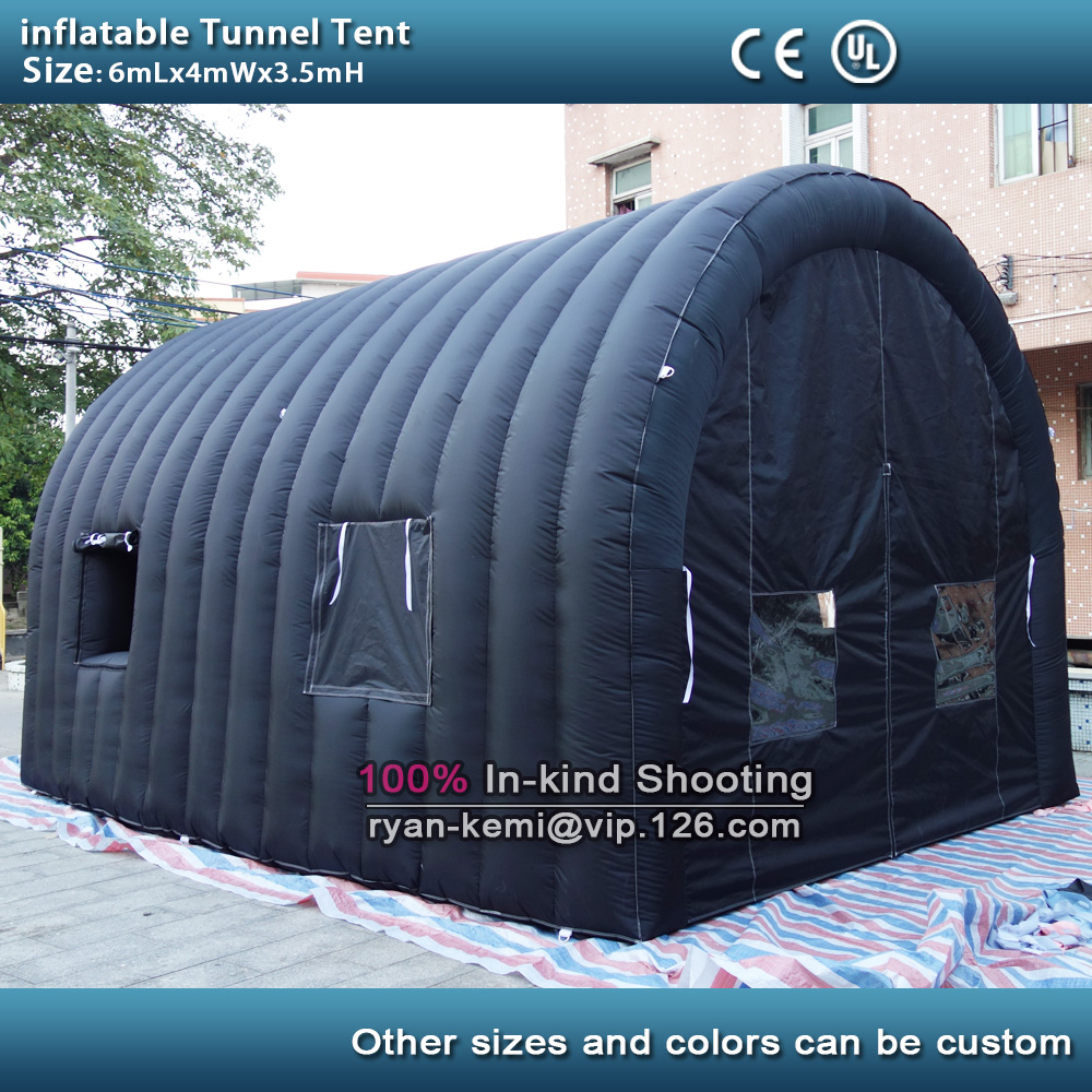 6mLx4mW Black Inflatable Tunnel Tent With Windows Doors Inflatable Car Garage Tent  Inflatable Sports Tunnel Tent With Blower