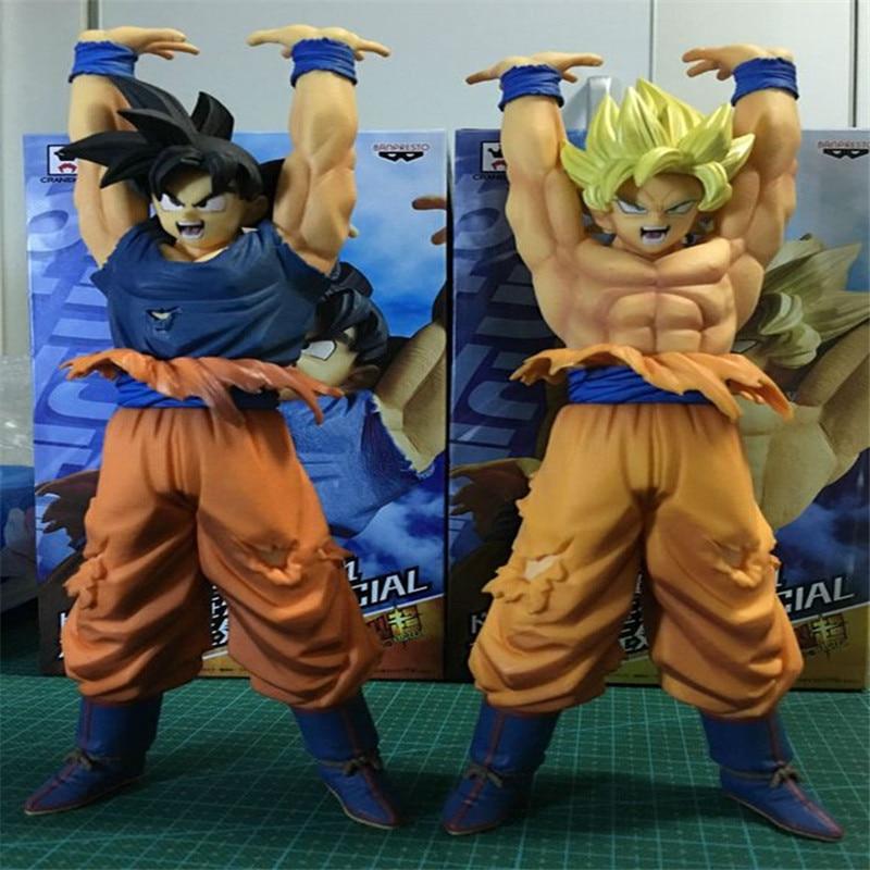 <font><b>Free</b></font> <font><b>Ship</b></font> 24cm <font><b>Dragon</b></font> <font><b>Ball</b></font> <font><b>Z</b></font> Super Saiyan Fired Vigour Battle Shape <font><b>Son</b></font> <font><b>Goku</b></font> 1/7 Scale Painted PVC Action Figures Toys for Kids