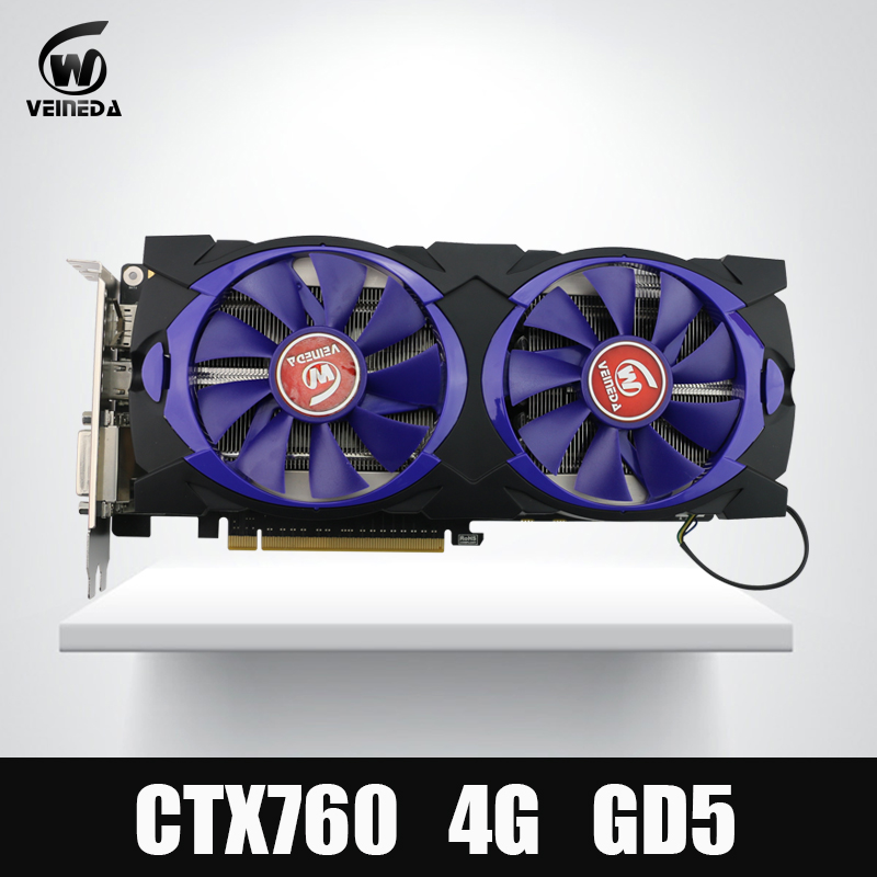 Video Card Veineda Graphic Card GTX 760 4G GDDR5 256Bit DVI HDMI InstantKill GTX 1050 GTX950
