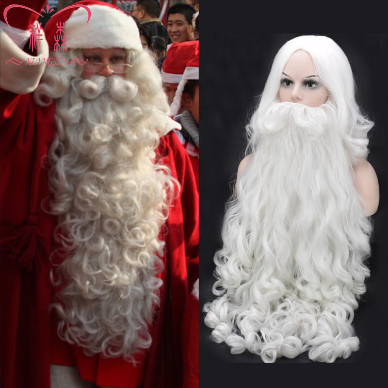 Biamoxer Adult Christmas Cosplay Wigs Beard Santa Claus White Curly Long Synthetic Hair Wig