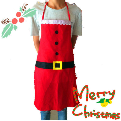 Kids Christmas Apron Home Kitchen Cooking Bib Red Funny Santa Clause Apron Xmas Gifts ...